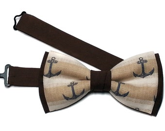 Anchor Bow Tie, Navy Anchor Bowtie, Mens Nautical Bow Tie, Father Son Matching Bow Tie