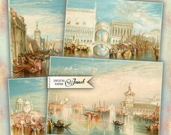Venice postcard - digital collage sheet - set of 4 - Printable Download