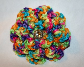 Lovely Crocheted Colorful Spring Flower with Rhinestone Center Brooch/Pin
