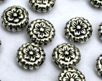 8 mm Antique Silver Flower Spacer Beads