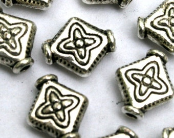 10.9 mm Antique Silver Diamond Shaped Spacer Beads
