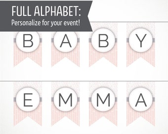 Printable Alphabet Banner in Apricot and Gray