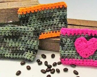 Coffee Cozy, Camo Cup Wrap,  Crochet Cup Sleeve, Travel Cup Cozie, Tea Cozy, Eco Friendly Cup Protector, Disposable Cup Cozy, Cotton Cozy