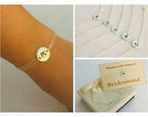 Free Shipping. Set of 5 sterling silver disc bracelet. Bridesmaids set. Bridesmaids jewelry.