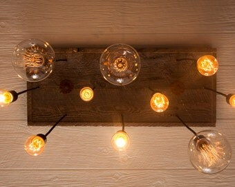 Industrial Lighting, Industrial Chandelier With Reclaimed Wood and 10 Pendants.      R-1434-10