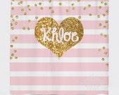 Light Pink Stripe and Gold Glitter Heart Shower Curtain - Monogrammed Gold Glitter Shower Curtain