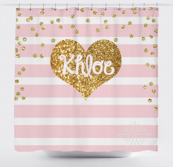 Light Pink Stripe And Gold Glitter Heart Shower Curtain