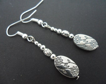 A pair of pretty tibetan silver  dangly earrings.