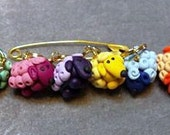 Stitch Markers Rainbow Sheep for Knit or Crochet set of 6 Kittens Ewe Wool lamb