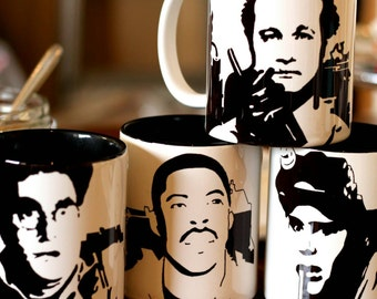 Ghostbusters, Ray Stanz, Peter Venkman, egon Spengler, Winston Zedmore Bill Murray, Dan Acroyd, Harold Ramis, Hand Printed Cup Set