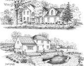 18x24 Custom Montage Home Portrait Graphite Pencil Fine Art Drawing-Housewarming First Home Anniversary Birthday Wedding