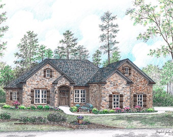Custom Home Portrait- 11x14 Full Color Original Your My Home Sketch Drawing Christmas Birthday First Home Anniv Wedd Closing Gifts