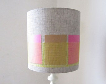 Modern Grey Linen Drum Lampshade With Bright Yellow Pocket Stripe -25cm Diameter