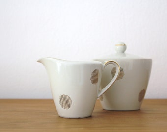 Bavaria Milk Jug and Sugar Bowl Geometric Gold Pattern Seltmann Weiden German Pottery Tea Lover Gift