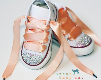 Infant, Toddler Baby Girl High Top White Converse® All Star® Chuck Taylor's® With Peach Ribbon Laces & Swarovski® Crystal Rhinestones