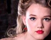 Rockabilly Cherry Earrings pinup girl retro fifties tattoo jewelry Jewellery Accessories