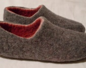 Felt Slippers Women Unisex Wool Home Shoes Gray With Red Warm Organic