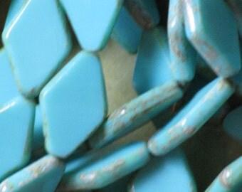 Table Cut CZECH GLASS 20x12mm Window Beads Flat DIAMOND 10 pc Pressed Green Blue Turquoise