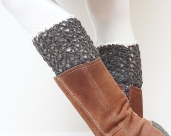 Boot cuffs hand crochet knitted Leg warmers topper brown white black handmade patterned Christmas ready to ship Wool openwork