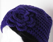 Purple Flowered Hat Beanie Cloche Slouchy Crochet Stylish Winter Hat