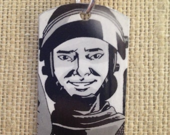 Glen The Walking Dead upcycled comic book dog tag, includes necklace or keychain