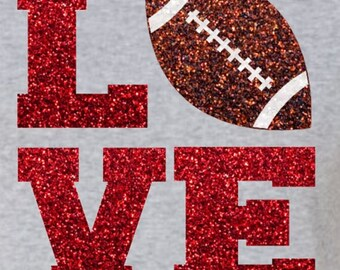 Glitter Football LOVE Iron On,  LOVE Football Iron On Transfer, DIY Football Shirt, Football Heat Transfer