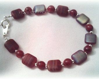 Red Swirl Glass Bracelet