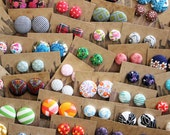 Fabric Button Earrings / Wholesale Jewelry / 10 Pairs / Custom Made / Gifts for Her / Bulk Discount / Stud Earrings / Party Favors
