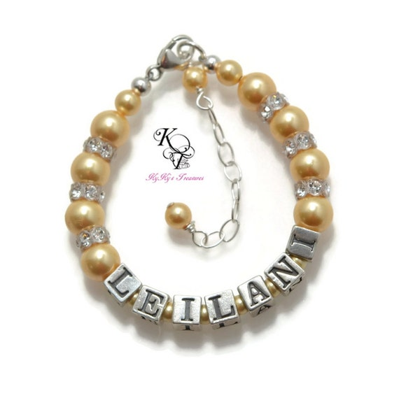 Personalized Name Bracelet pink pearls by SixSistersBeadworks   Personalized Baby Jewelry For Girls