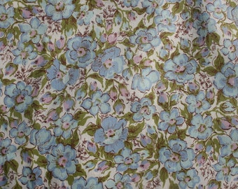 "Vintage Small Print Morning Glory Fabric, Lightweight Blue Floral Flower Cotton Summer Fabric, Sewing Blouse Top Quilt Fabric, 46"" x 36"""