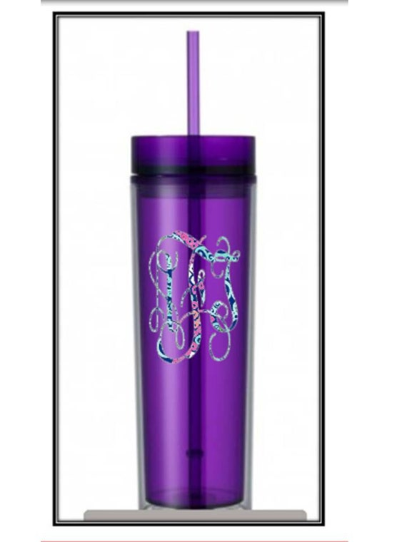 Purple Skinny Water Bottle Tumbler With Lilly Pulitzer Vinyl