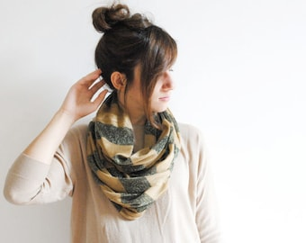 Caramel Black Gold Striped Infinity Scarf - Chunky Scarf - Cowl Scarf - Chuncky Infinity Scarf - Gift for her