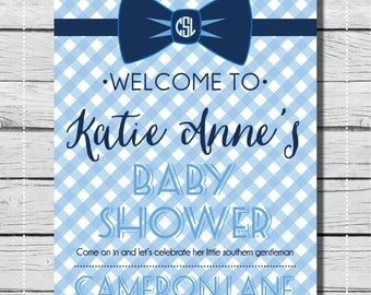 Bow Tie Baby Shower Welcome Banner for Southern Gentleman. It's A Boy Baby Shower Sign. {PRINT & SHIP} Baby Shower decor
