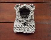 crochet bear hoodie in light grey (newborn)