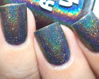 Holographic - Black Widow:  Custom-Blended Glitter Nail Polish / Indie Lacquer / Polish Me Silly