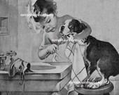 Little Girl Brushes Dog's Teeth, Puppy Hygiene, Great Bathroom Print, Great Gift for Dentist, Graduating Dental Student  #81