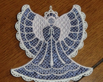 Embroidered Magnet - Christmas - Mylar Angel Purple/White