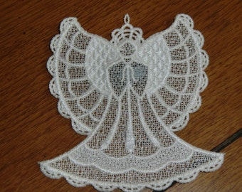 Embroidered Magnet - Christmas - Angel White All Thread
