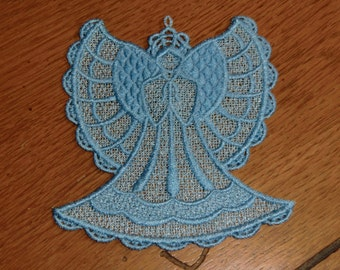 Embroidered Magnet - Christmas - Angel Sky Blue All Thread