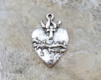 Pewter Sacred Heart Charm - 1898