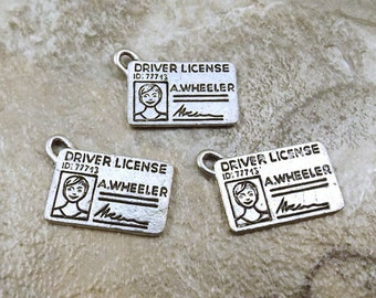 Three (3) Pewter Drivers License Charms - 5061