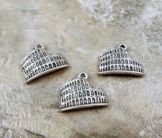 3 Pewter Roman Coliseum Charms- Free Shipping in the US - (0849)