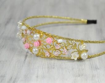 Bridal Flower  Tiara, Crystal Headband, Gold Bridal Headpiece, Wedding Headpiece, Bridal Crown Halo, 1920s wedding, Runway Inspired