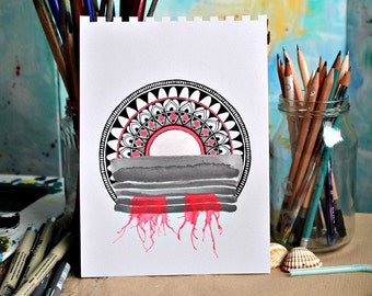 Original mixed media mandala drawing with watercolor in black white neon red