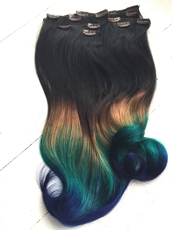 Items Similar To Peacock Ombre Hair Extensions Black Hair