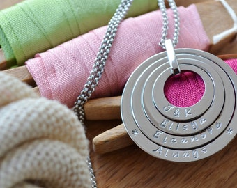 Personalised family necklace stainless steel offset washer stack hand stamped