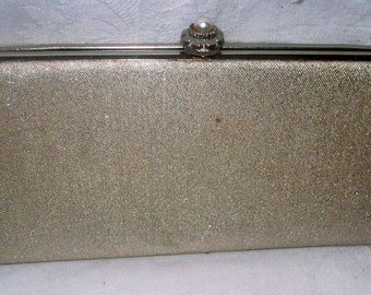 1960s Silver Clutch - Purse  -  Vintage - Party Bag