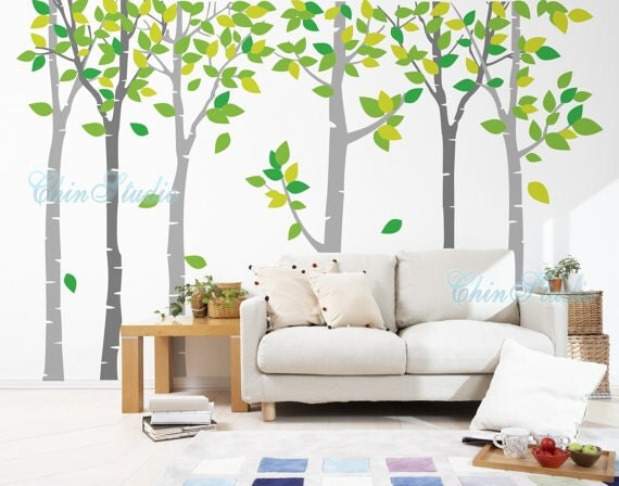 6 Birch Tree with Flying leaves-tree nursery wall decal baby decor nursery wall sticker children wall decals