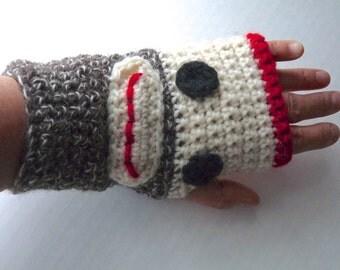 Sock monkey fingerless gloves handmade crochet wool gloves