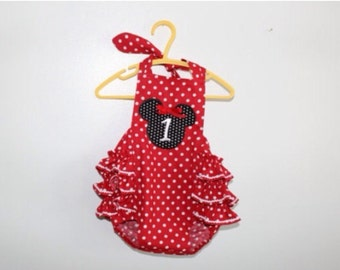 Minnie Mouse ruffled bubble romper•disney bubble•monogrammed Minnie Mouse optional